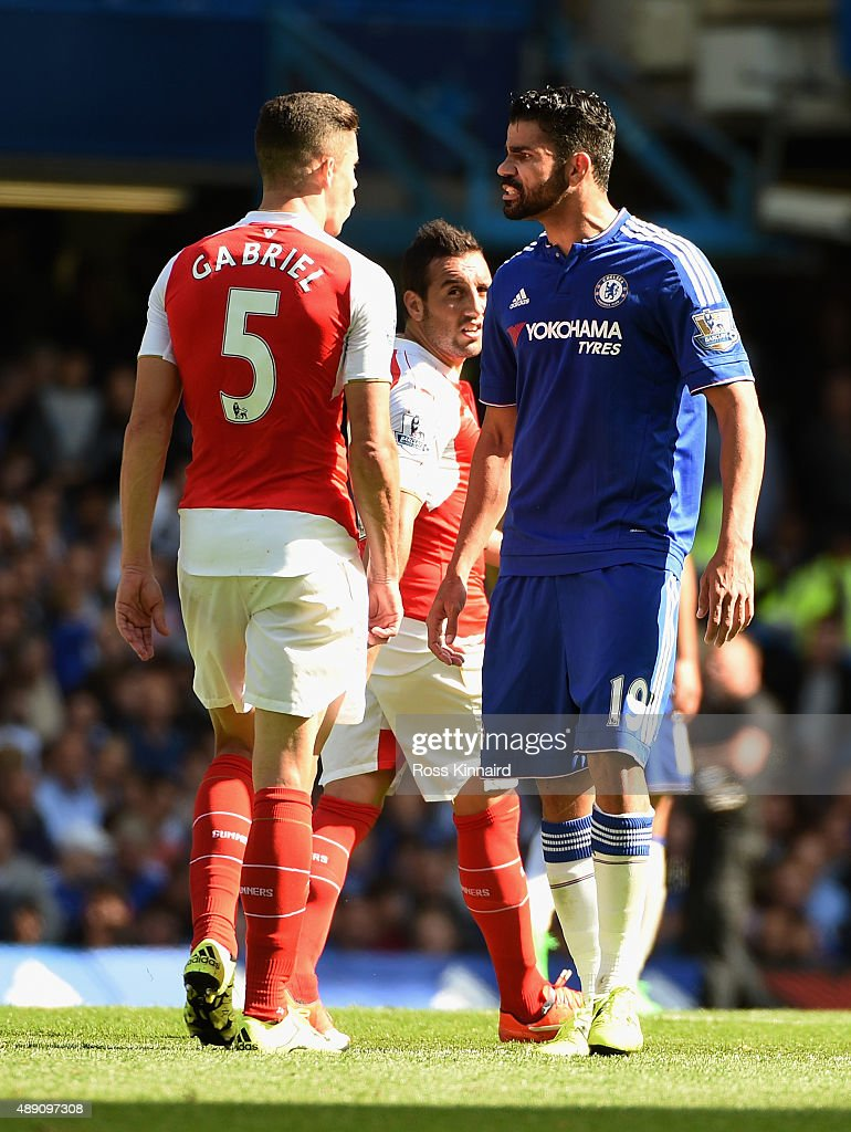 Diego Costa of Chelsea and Gabriel of Arsenal argue during the Barclays Premier League match between Chelsea and Arsenal at Stamford Bridge on September 19, 2015 in London, United Kingdom.