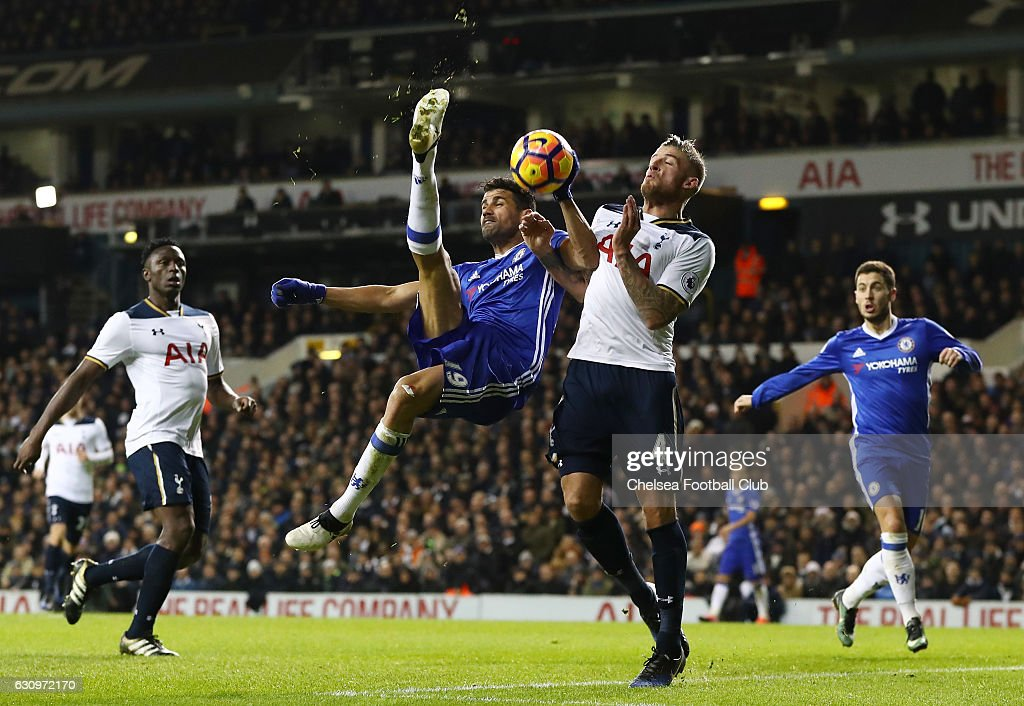 Diego Costa of Chelsea (C) attempts a overhead kick while Toby Alderweireld of Tottenham Hotspur (R) attempts to block during the Premier League match between Tottenham Hotspur and Chelsea at White Hart Lane on January 4, 2017 in London, England.
