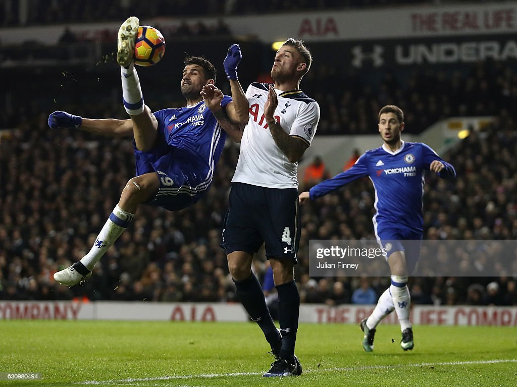 Diego Costa of Chelsea attempts an overhead kick as Toby Alderweireld of Spurs defends during the the Premier League match between Tottenham Hotspur and Chelsea at White Hart Lane on January 4, 2017 in London, England.