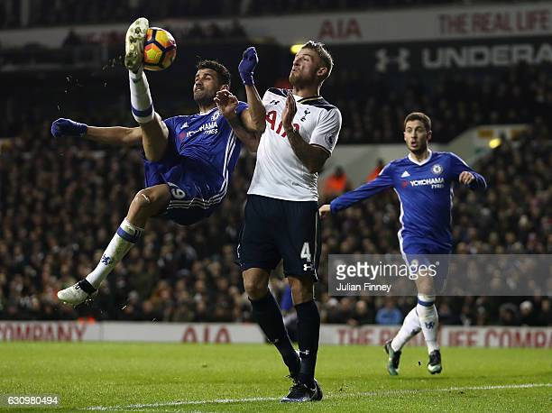 Diego Costa of Chelsea attempts an overhead kick as Toby Alderweireld of Spurs defends during the the Premier League match between Tottenham Hotspur...