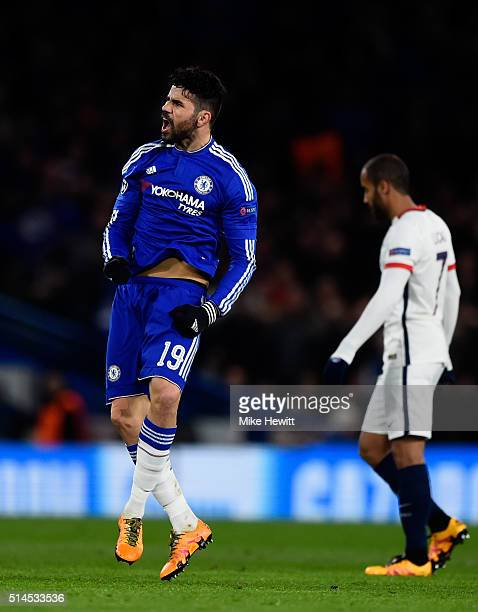 Diego Costa of Chelsea celebrates after scoring a goal to level the scores at 11 as a dejected Lucas of PSG looks on during the UEFA Champions League...