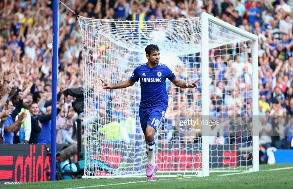 Diego Costa of Chelsea celebrates after scoring his and his team's second goal during the Barclays Premier League match between Chelsea and Swansea City at Stamford Bridge on September 13, 2014 in London, England.