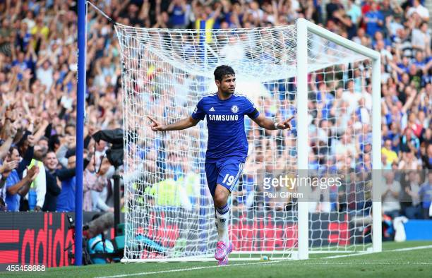 Diego Costa of Chelsea celebrates after scoring his and his team's second goal during the Barclays Premier League match between Chelsea and Swansea...