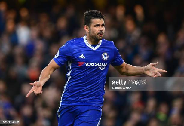 Diego Costa of Chelsea celebrates after scoring his sides first goal during the Premier League match between Chelsea and Middlesbrough at Stamford...