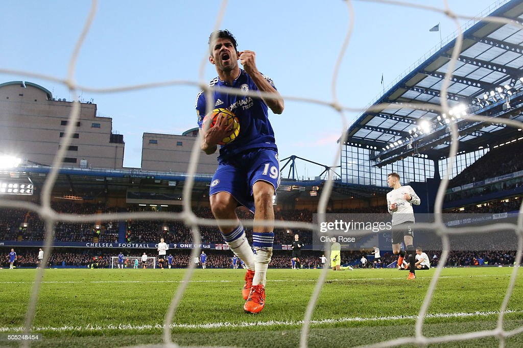 Diego Costa of Chelsea celebrates after scoring his team's first goal during the Barclays Premier League match between Chelsea and Everton at Stamford Bridge on January 16, 2016 in London, England.