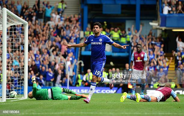 Diego Costa of Chelsea celebrates after scoring his team's second goal during the Barclays Premier League match between Chelsea and Aston Villa at...