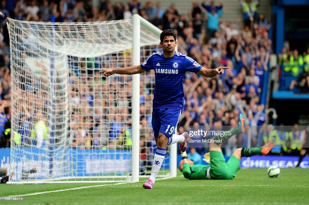 Diego Costa of Chelsea celebrates after scoring his team's second goal during the Barclays Premier League match between Chelsea and Aston Villa at Stamford Bridge on September 27, 2014 in London, England.