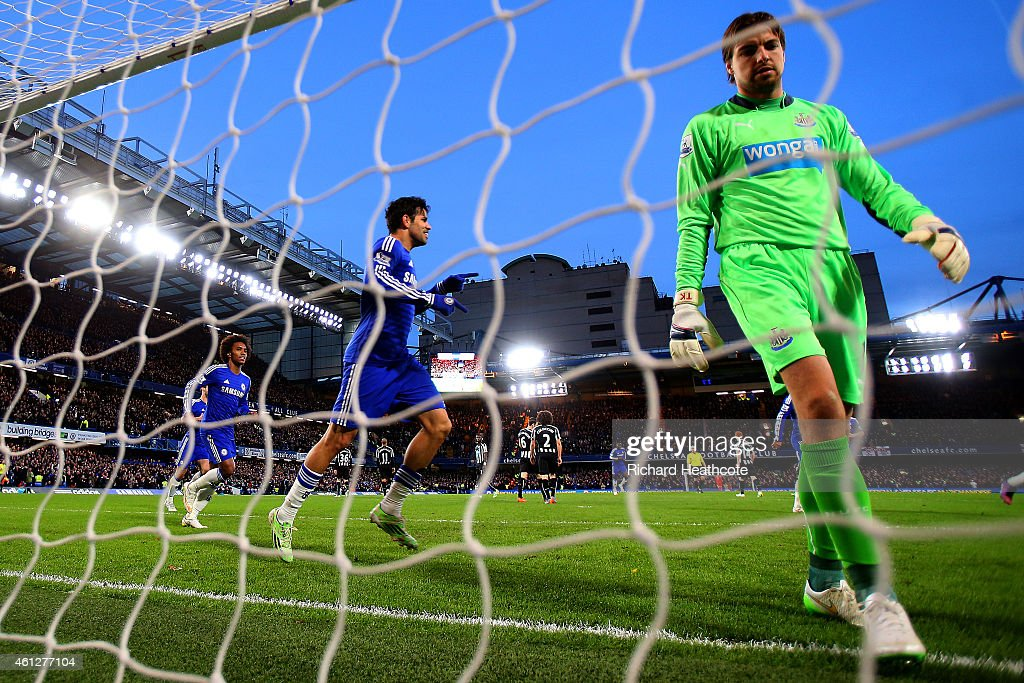 Diego Costa of Chelsea celebrates after scoring his team's second goal past Tim Krul of Newcastle United during the Barclays Premier League match between Chelsea and Newcastle United at Stamford Bridge on January 10, 2015 in London, England.