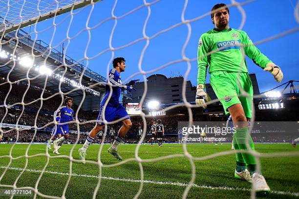 Diego Costa of Chelsea celebrates after scoring his team's second goal past Tim Krul of Newcastle United during the Barclays Premier League match...