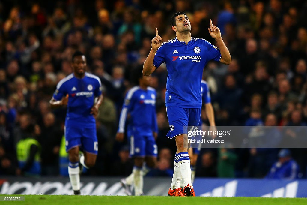 Diego Costa of Chelsea celebrates after scoring his team's second goal during the Barclays Premier League match between Chelsea and Watford at Stamford Bridge on December 26, 2015 in London, England.
