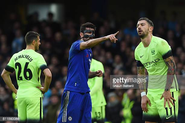 Diego Costa of Chelsea celebrates after scoring the opening goal during The Emirates FA Cup fifth round match between Chelsea and Manchester City at...