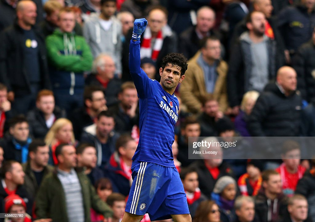 Diego Costa of Chelsea celebrates after scoring the winning goal during the Barclays Premier League match between Liverpool and Chelsea at Anfield on November 8, 2014 in Liverpool, England.