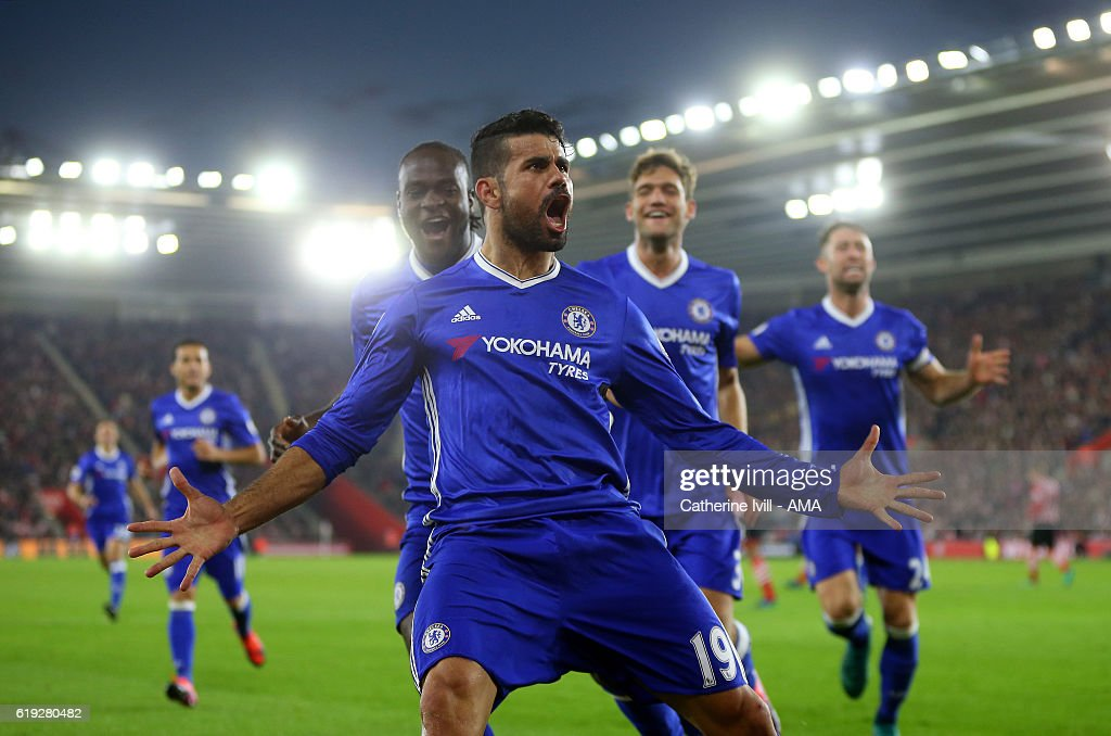 Diego Costa of Chelsea celebrates after scoring to make it 0-2 during the Premier League match between Southampton and Chelsea at St Mary's Stadium on October 30, 2016 in Southampton, England.
