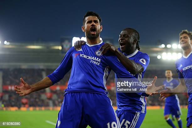 Diego Costa of Chelsea celebrates after scoring to make it 02 with Victor Moses of Chelsea during the Premier League match between Southampton and...
