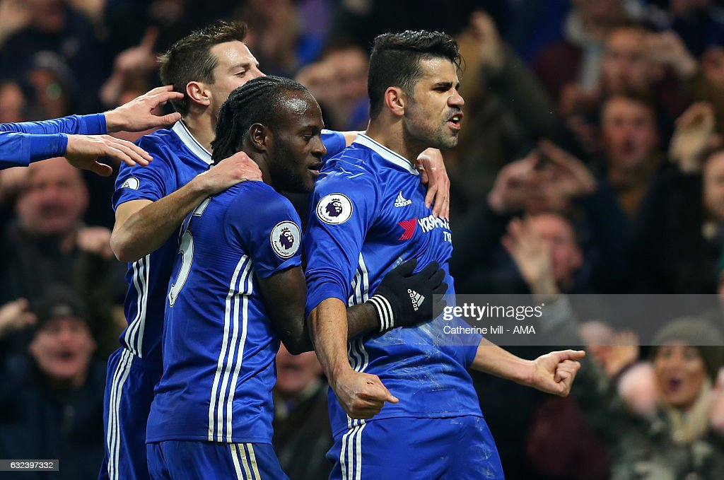 Diego Costa of Chelsea celebrates after scoring to make it 1-0 during the Premier League match between Chelsea and Hull City at Stamford Bridge on January 22, 2017 in London, England.