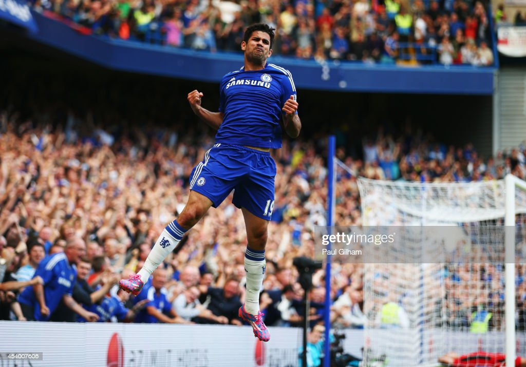 Diego Costa of Chelsea celebrates as he scores their first goal during the Barclays Premier League match between Chelsea and Leicester City at Stamford Bridge on August 23, 2014 in London, England.