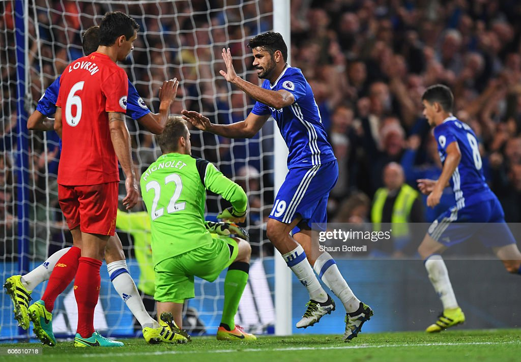 Diego Costa of Chelsea (19) celebrates as he scores their first goal during the Premier League match between Chelsea and Liverpool at Stamford Bridge on September 16, 2016 in London, England.