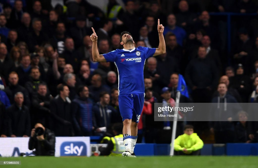 Diego Costa of Chelsea celebrates as he scores their fourth goal during the Premier League match between Chelsea and Southampton at Stamford Bridge on April 25, 2017 in London, England.