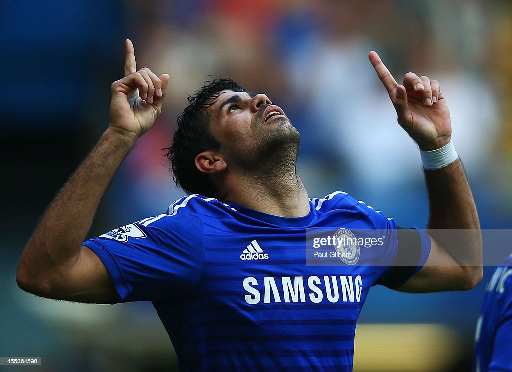 Diego Costa of Chelsea celebrates as he scores their second goal during the Barclays Premier League match between Chelsea and Swansea City at Stamford Bridge on September 13, 2014 in London, England.