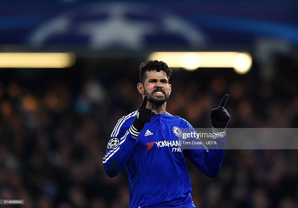 Diego Costa of Chelsea celebrates his goal during the UEFA Champions League round of 16 second leg match between Chelsea FC and Paris Saint-Germain at Stamford Bridge on March 9, 2016 in London, United Kingdom. (Photo by Tom Dulat - UEFA/UEFA via Getty Images).