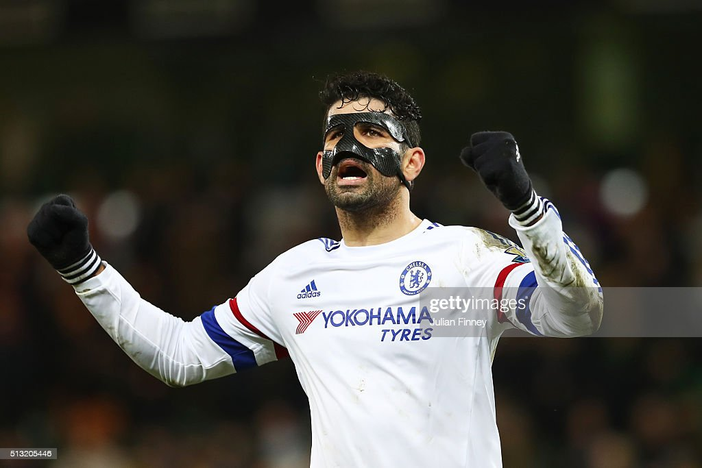 Diego Costa of Chelsea celebrates his team's 2-1 win in the Barclays Premier League match between Norwich City and Chelsea at Carrow Road on March 1, 2016 in Norwich, England.
