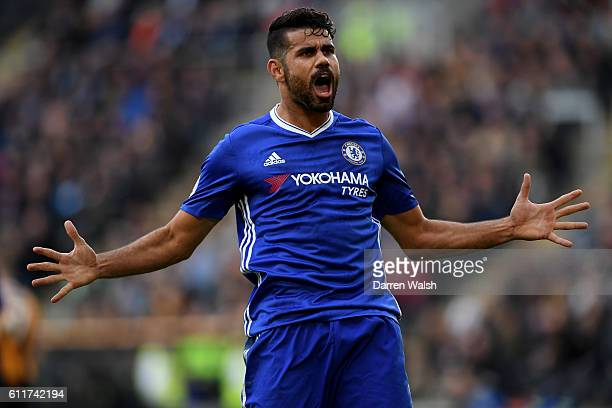 Diego Costa of Chelsea celebrates scoring his sides second goal during the Premier League match between Hull City and Chelsea at KCOM Stadium on...