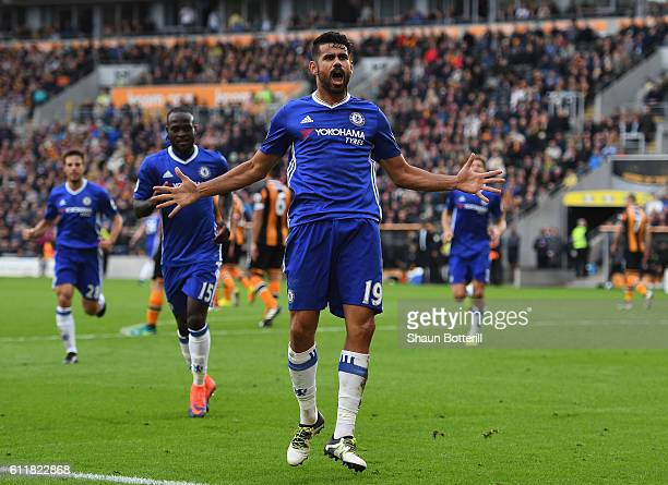 Diego Costa of Chelsea celebrates scoring his sides second goal during the Premier League match between Hull City and Chelsea at KC Stadium on...