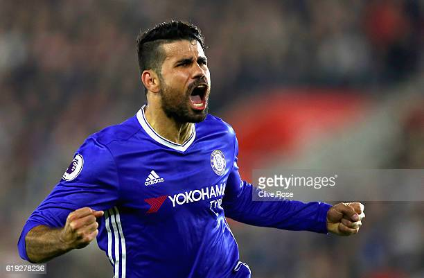 Diego Costa of Chelsea celebrates scoring his sides second goal during the Premier League match between Southampton and Chelsea at St Mary's Stadium...