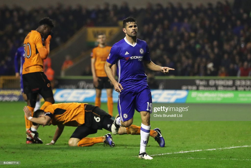 Diego Costa of Chelsea celebrates scoring his side's second goal during the Emirates FA Cup Fifth Round match between Wolverhampton Wanderers and Chelsea at Molineux on February 18, 2017 in Wolverhampton, England.