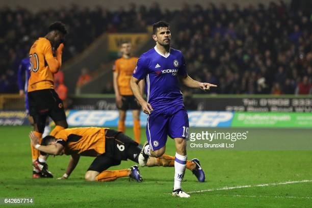 Diego Costa of Chelsea celebrates scoring his side's second goal during the Emirates FA Cup Fifth Round match between Wolverhampton Wanderers and...