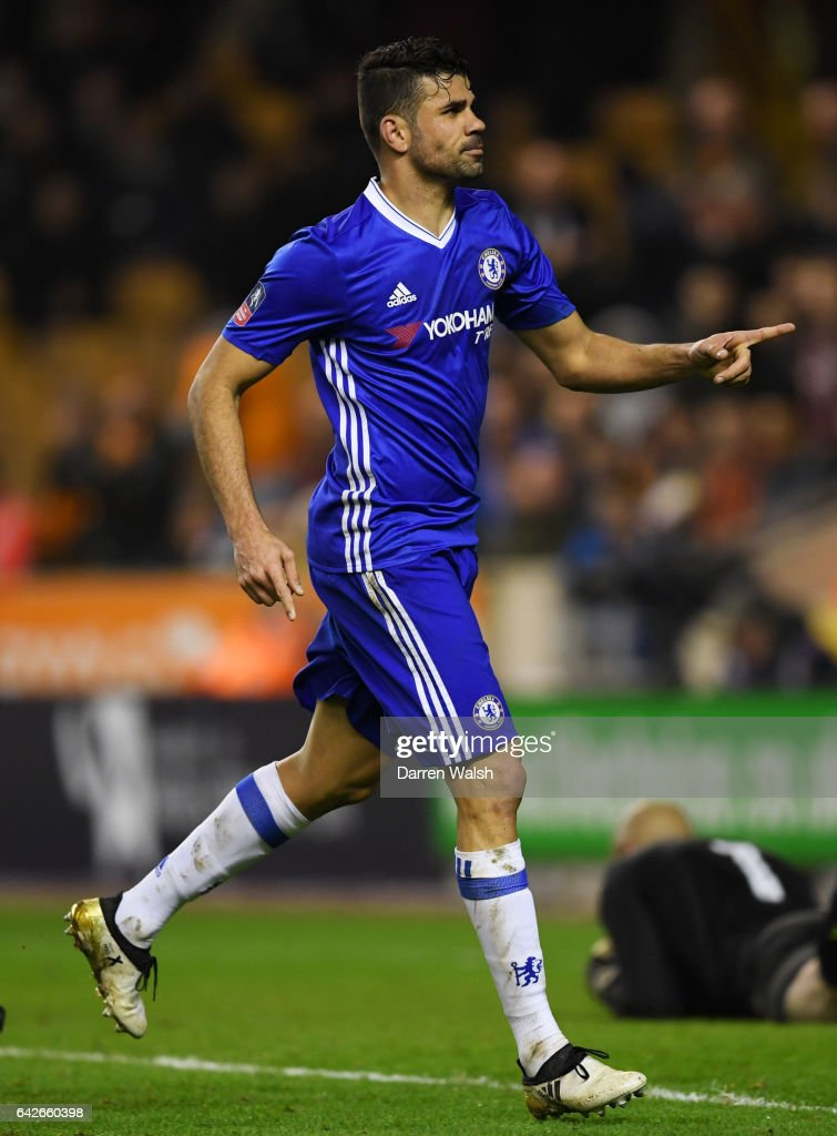 Diego Costa of Chelsea celebrates scoring his sides second goal during The Emirates FA Cup Fifth Round match between Wolverhampton Wanderers and Chelsea at Molineux on February 18, 2017 in Wolverhampton, England.