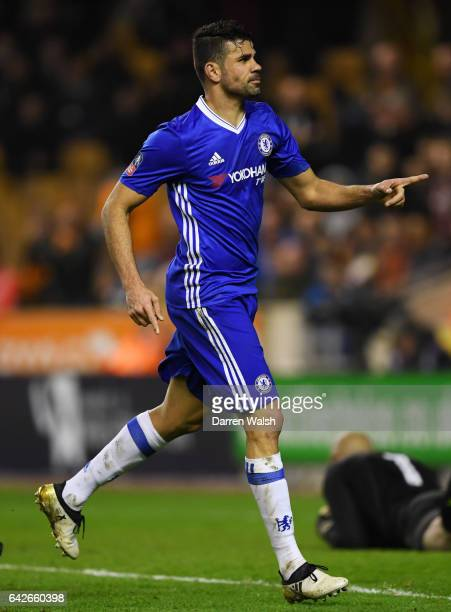 Diego Costa of Chelsea celebrates scoring his sides second goal during The Emirates FA Cup Fifth Round match between Wolverhampton Wanderers and...