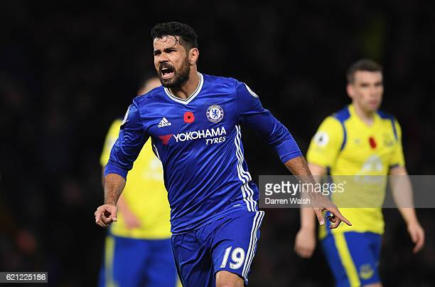 Diego Costa of Chelsea celebrates scoring his sides third goal during the Premier League match between Chelsea and Everton at Stamford Bridge on...