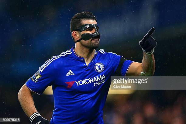 Diego Costa of Chelsea celebrates scoring his team's first goal during the Barclays Premier League match between Chelsea and Newcastle United at...