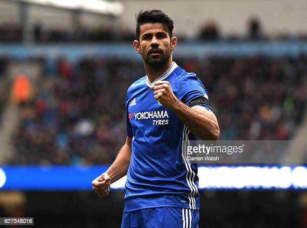 Diego Costa of Chelsea celebrates scoring his team's first goal during the Premier League match between Manchester City and Chelsea at Etihad Stadium...