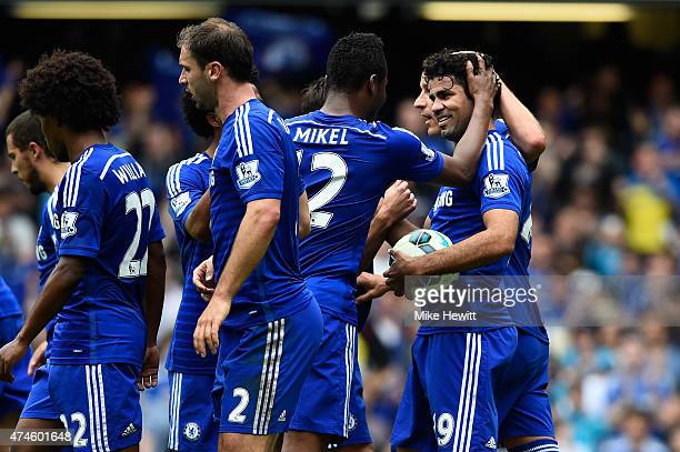Diego Costa of Chelsea celebrates scoring his team's first goal from the penalty spot during the Barclays Premier League match between Chelsea and...