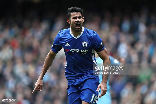 Diego Costa of Chelsea celebrates scoring his team's first goal to make the score 11 during the Premier League match between Manchester City and...