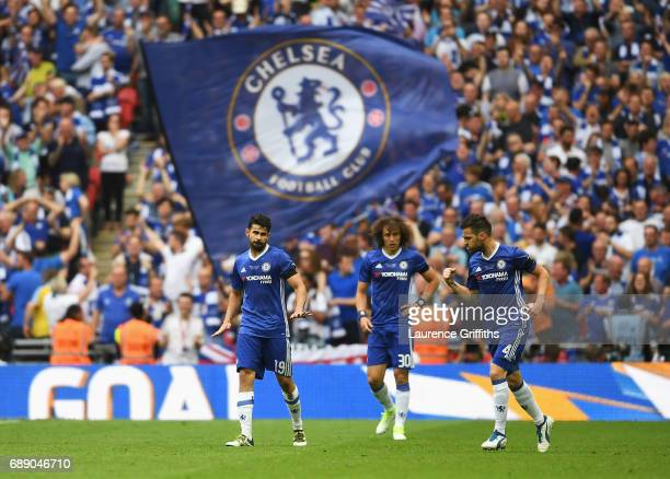 Diego Costa of Chelsea celebrates scoring his teams first goal with teammates David Luiz and Cesc Fabregas during The Emirates FA Cup Final between...