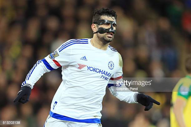 Diego Costa of Chelsea celebrates scoring his team's second goal during the Barclays Premier League match between Norwich City and Chelsea at Carrow...