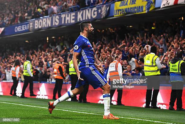 Diego Costa of Chelsea celebrates scoring his team's second goal during the Premier League match between Chelsea and West Ham United at Stamford...