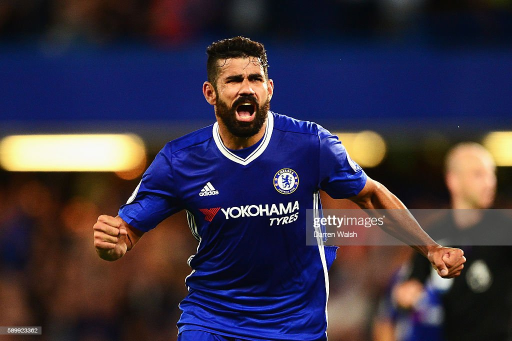 Diego Costa of Chelsea celebrates scoring his team's second goal during the Premier League match between Chelsea and West Ham United at Stamford Bridge on August 15, 2016 in London, England.