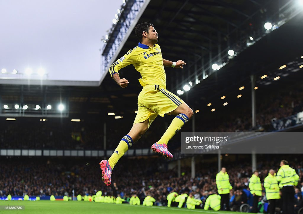 Diego Costa of Chelsea celebrates scoring his team's sixth goal during the Barclays Premier League match between Everton and Chelsea at Goodison Park on August 30, 2014 in Liverpool, England.