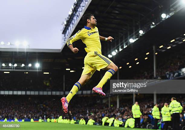 Diego Costa of Chelsea celebrates scoring his team's sixth goal during the Barclays Premier League match between Everton and Chelsea at Goodison Park...