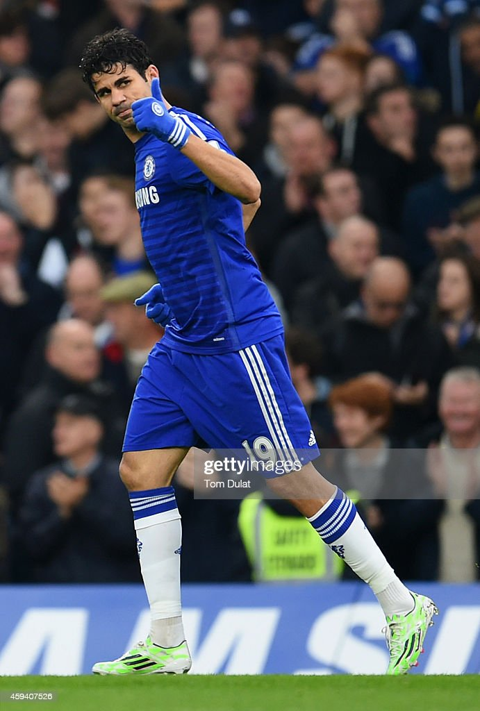 Diego Costa of Chelsea celebrates scoring opening goal during the Barclays Premier League match between Chelsea and West Bromwich Albion at Stamford Bridge on November 22, 2014 in London, England.