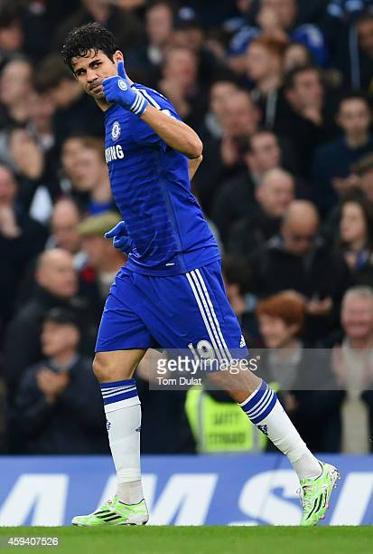 Diego Costa of Chelsea celebrates scoring opening goal during the Barclays Premier League match between Chelsea and West Bromwich Albion at Stamford...