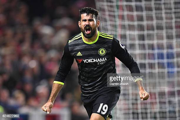 Diego Costa of Chelsea celebrates scoring the opening goal during the Premier League match between Middlesbrough and Chelsea at Riverside Stadium on...