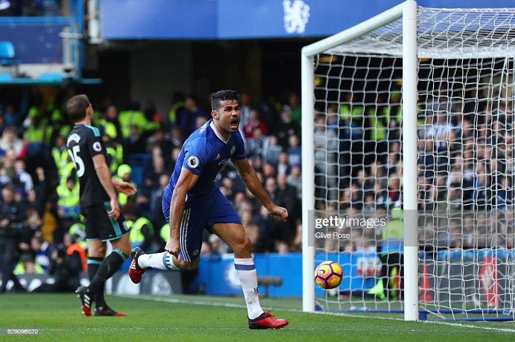 Diego Costa of Chelsea celebrates scoring the opening goal during the Premier League match between Chelsea and West Bromwich Albion at Stamford Bridge on December 11, 2016 in London, England.
