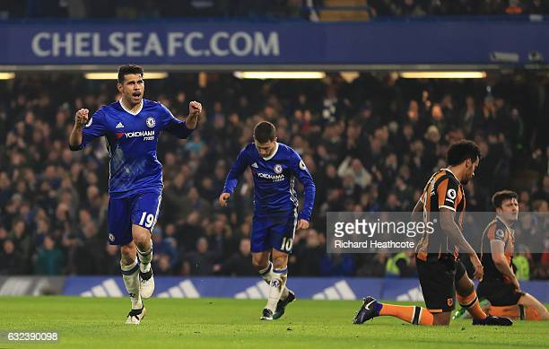 Diego Costa of Chelsea celebrates scoring the opening goal during the Premier League match between Chelsea and Hull City at Stamford Bridge on...