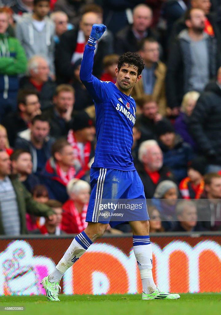 Diego Costa of Chelsea celebrates scoring their second goal during the Barclays Premier League match between Liverpool and Chelsea at Anfield on November 8, 2014 in Liverpool, England.