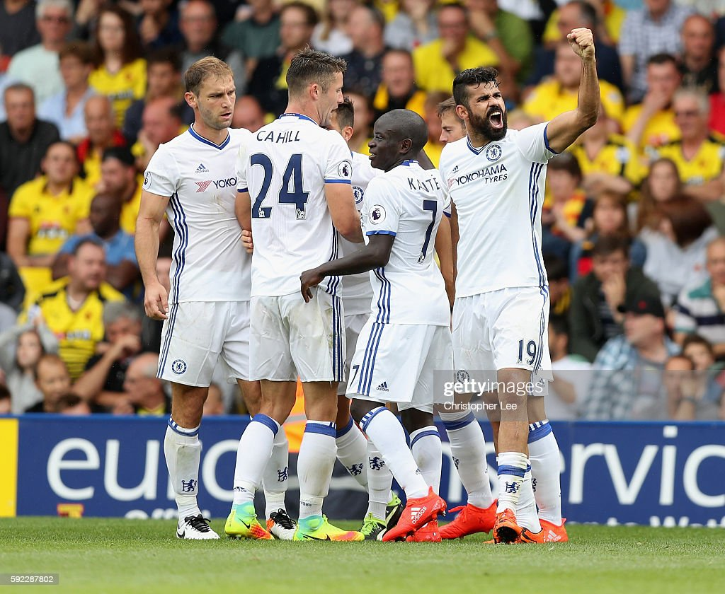 Diego Costa of Chelsea celebrates scoring their winning goal during the Premier League match between Watford and Chelsea at Vicarage Road on August 20, 2016 in Watford, England.